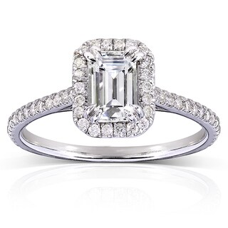 Annello by Kobelli 14k White Gold 1 1/3ct TGW Emerald-cut Moissanite (HI) and Diamond Halo Engagement Ring