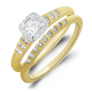 Bridal Symphony 10k Yellow Gold 1/4CTtw Bridal Ring Set (I-J, I1-I2)