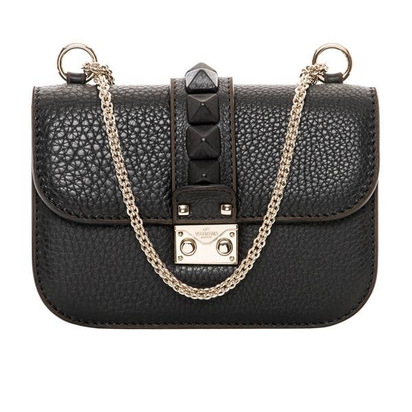Valentino 'Vitello St Alce' Black Leather Mini Shoulder Bag