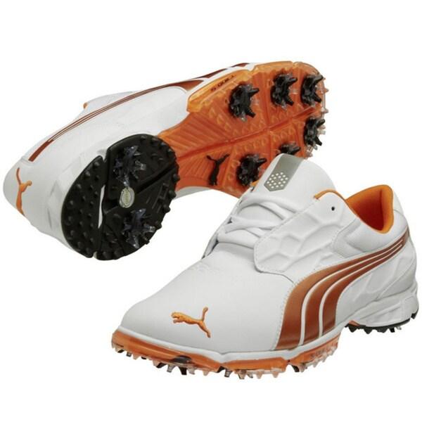 Puma Men's Biofusion Lite White-Vibrant Orange Golf Shoes