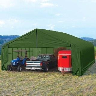 Shelterlogic Peak Style 22-foot by 28-foot Green Outdoor Storage Garage