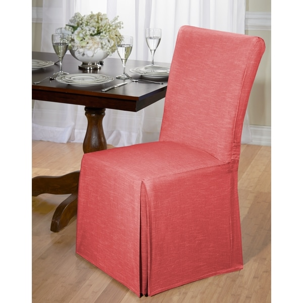 Chambray Cotton Dining Chair Slipcover   Free Shipping On Orders Over $45    Overstock.com   16724315