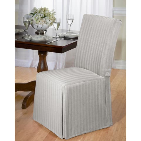 Cotton Herringbone Dining Chair Slipcover