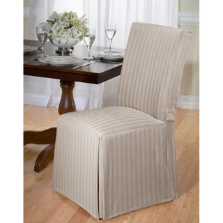 Cotton Herringbone Dining Chair Slipcover (Option: Tan)