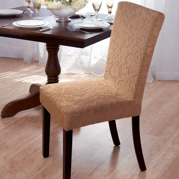 Velvet Damask Stretch Dining Chair Slipcovers