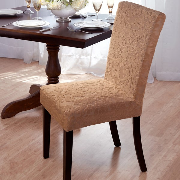 Dining Room Chair Back Covers: Shop Velvet Damask Stretch Dining Chair Slipcovers