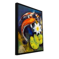 Michael Creese 'Koi Fish and Water Lily' Floater-framed Gallery-wrapped Canvas - Multi