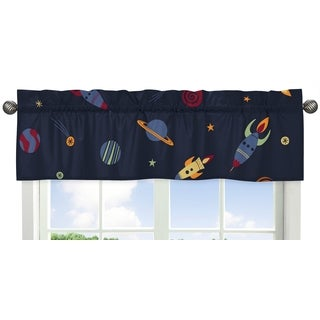 Sweet Jojo Designs Navy Blue, Red, Orange, Yellow and Green Space Galaxy Collection 54-inch x 15-inc