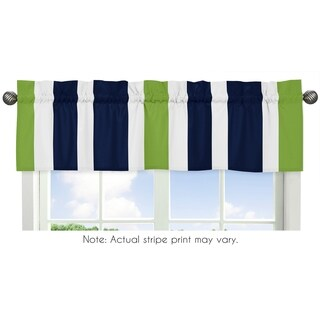 Sweet Jojo Designs Navy Blue, Lime Green and White Stripe Collection 54-inch x 15-inch Window Treatm