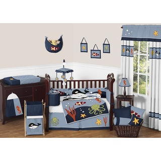Sweet Jojo Designs Ocean Blue  9-piece Crib Bedding Set