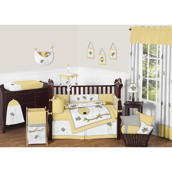 Sweet Jojo Gray And Yellow Crib Bedding