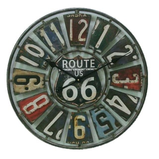 22-inch Route 66 Metal Clock with License Plate Design
