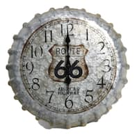 14.2-inch Metal Clock Route 66 with Bottle Cap Design