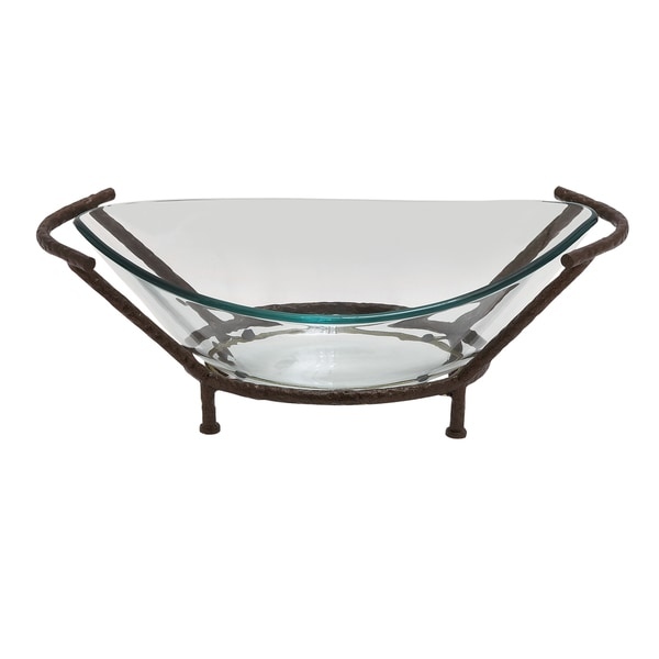 collin decorative oval glass bowl with stand - Decorative Glass Bowls
