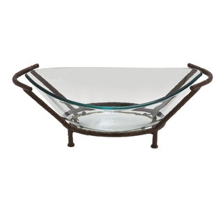 Collin Decorative Oval Glass Bowl with Stand