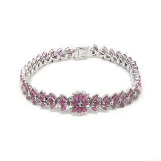 De Buman Sterling Silver Marquise-cut Natural Ruby Bracelet