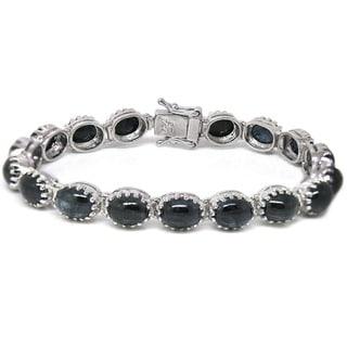 De Buman Sterling Silver Natural Cabochon Sapphire Bracelet