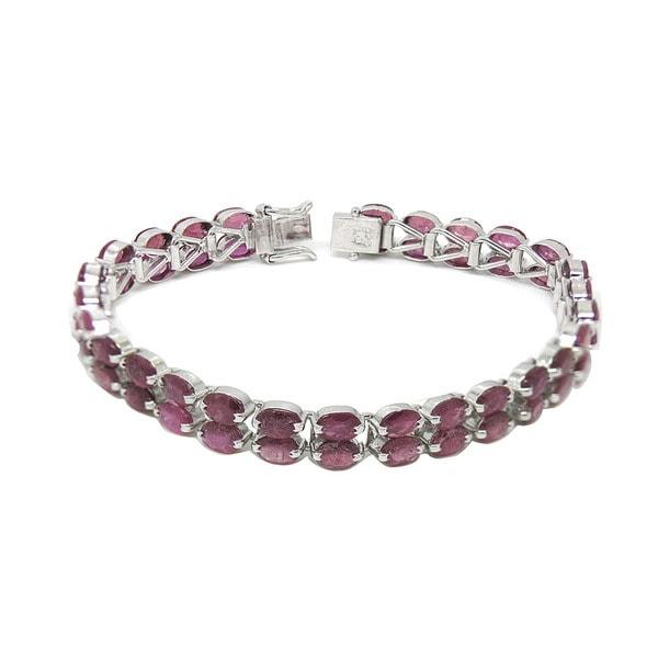 De An Sterling Silver Natural Ruby Bracelet