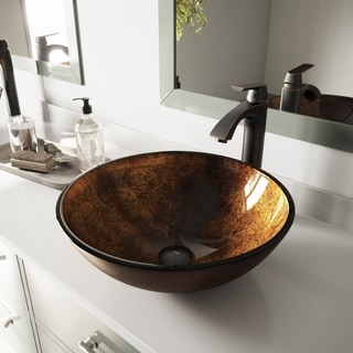 VIGO Russet Glass Vessel Sink and Linus Faucet Set in Antique Rubbed Bronze Finish