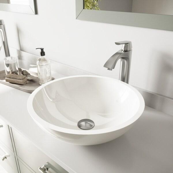 VIGO Victoria White Vessel Bathroom Sink Set with Linus Faucet