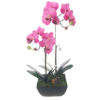 Lavender Artificial Silk Phalaenopsis Orchids Centerpiece in Black Ceramic Base