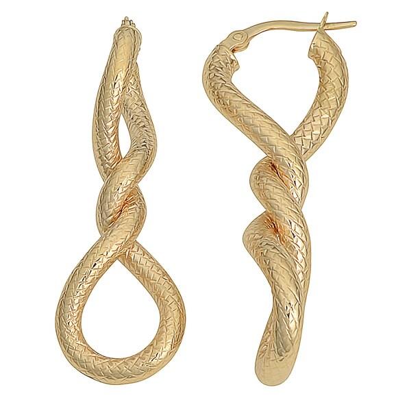 Fremada 10k Yellow Gold Diamond-cut Twisted Elongated Hoop Earrings