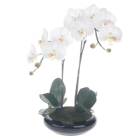 White/ Yellow Silk Phalaenopsis Orchid Centerpiece with Black Ceramic Base