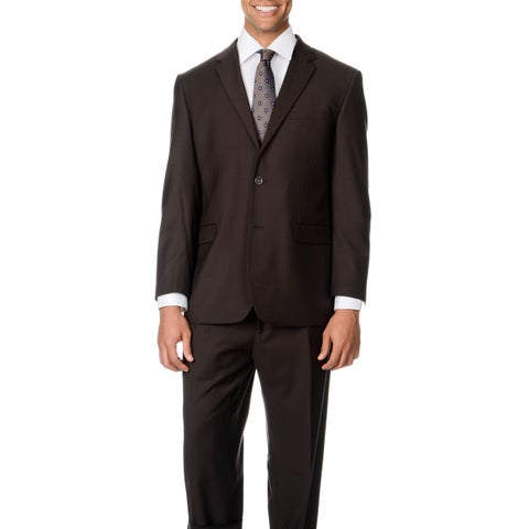 Caravelli Italy Men's Big & Tall 'Super 150' Brown 2-button Suit