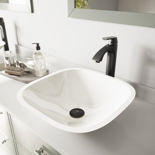 VIGO Square Shaped White Phoenix Stone Glass Vessel Sink and Linus Faucet Set in Antique Rubbed Bronze Finish