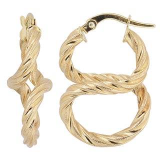 Fremada 10k Yellow Gold Twisted Figure Eight Hoop Earrings