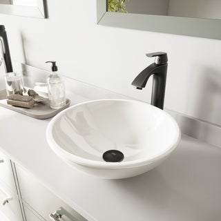VIGO White Phoenix Stone Glass Vessel Sink and Linus Faucet Set in Antique Rubbed Bronze Finish