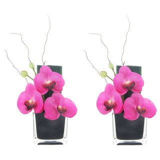 Artificial Silk Phalaenopsis Lavender Arrangements in Black Glass Base (Set of 2)