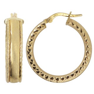 Fremada 10k Yellow Gold Satin/ Diamond-cut Finish Hoop Earrings