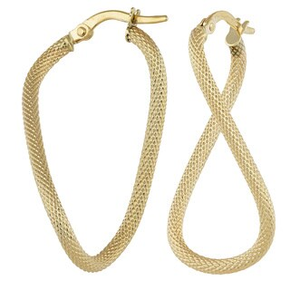 Fremada 10k Yellow Gold Textured Twisted Oval Hoop Earrings