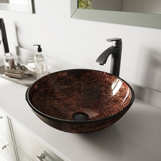 VIGO Kenyan Twilight Glass Vessel Sink and Linus Antique Rubbed Bronze Finish Faucet Set