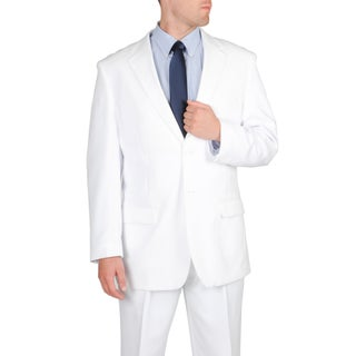 Bolzano Uomo Collezione Men's Big/ Tall White 2-piece 2-button Pleated Pant Suit (More options available)