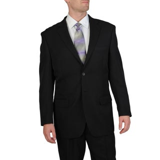 Bolzano Uomo Collezione Men's Big & Tall Black Pleated Pant Suit (More options available)