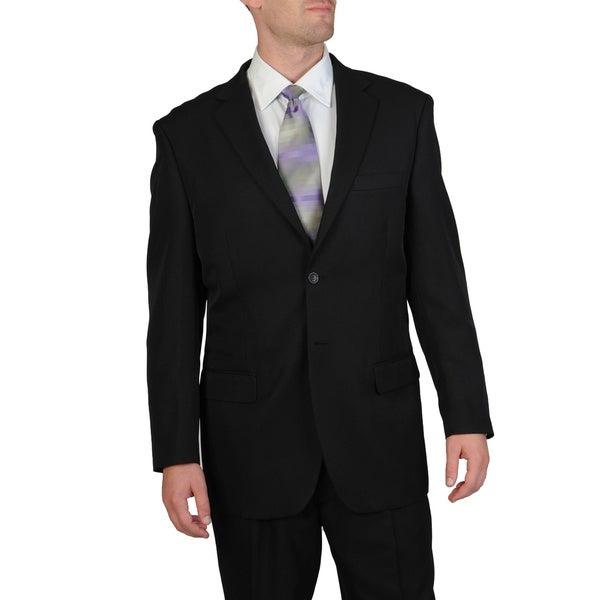Bolzano Uomo Collezione Men's Big & Tall Black Pleated Pant Suit