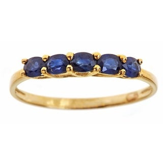Anika and August 10k Yellow Gold Oval-cut Blue Sapphire Fashion Ring