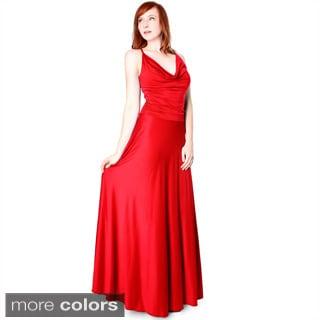 Evanese Women's Shiny Venezian Cowl-neck Long Dress