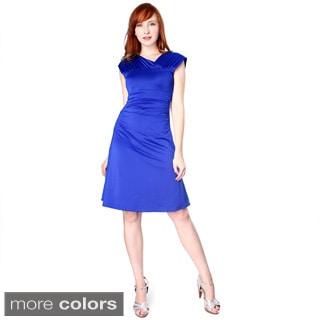Evanese Women's Shiny Venezian Short Dress