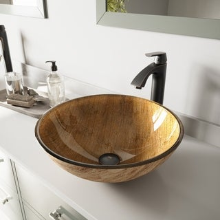 VIGO Amber Sunset Glass Vessel Sink and Linus Faucet Set in Antique Rubbed Bronze Finish