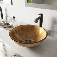 VIGO Amber Sunset Glass Vessel Bathroom Sink Set with Linus Faucet