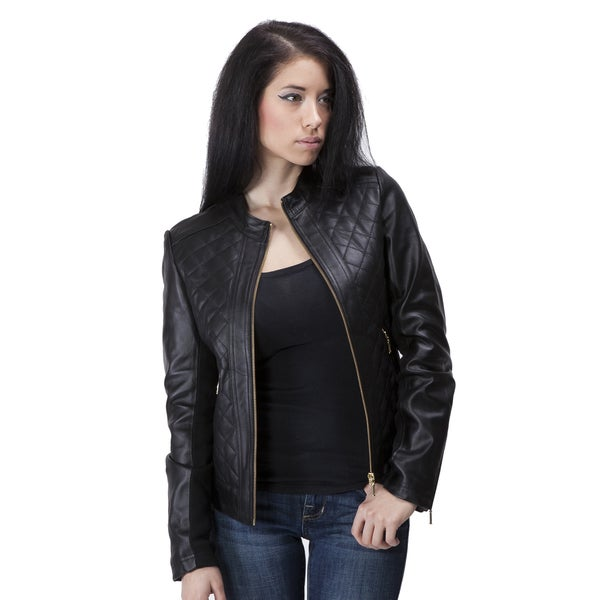United Face Women's Lambskin Quilted Leather Jacket. Opens flyout.