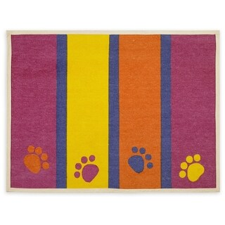 "Fashion Forward Cotton Mat 13""X25.5""-Paws & Stripes"