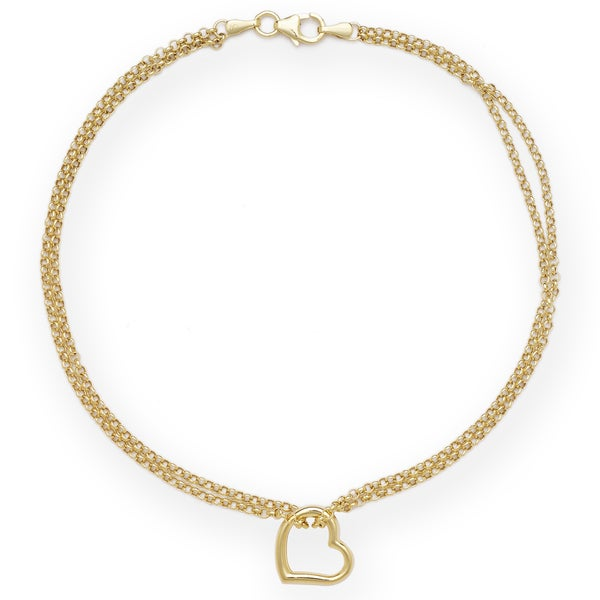 10k Gold Freeform Heart Ankle Double Strand 10-inch Bracelet
