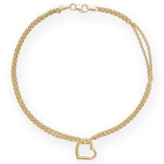 10k Gold Freeform Heart Ankle Double Strand 10-inch Bracelet