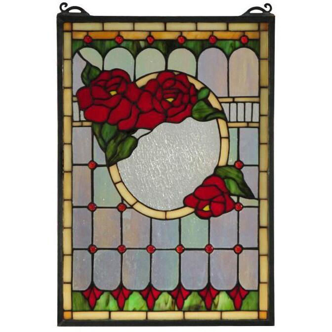 Meyda Tiffany Morgan Rose Stained Glass Window Panel (Mor...