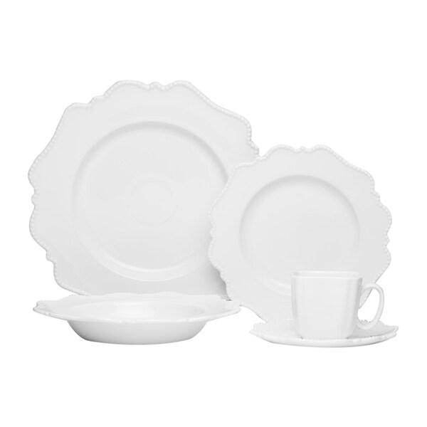 Red Vanilla Pinpoint White 20-piece Dinnerware Set  sc 1 st  Overstock & Red Vanilla Pinpoint White 20-piece Dinnerware Set - Free Shipping ...