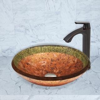 VIGO Janus Glass Vessel Sink and Linus Faucet Set in Antique Rubbed Bronze Finish